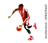 running basketball player with... | Shutterstock .eps vector #698429665