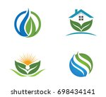 logos of green leaf ecology... | Shutterstock .eps vector #698434141