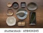 japanese old ceramic dish | Shutterstock . vector #698434345