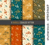 umbrellas simple seamless... | Shutterstock .eps vector #698434669