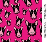 happy dog bull terrier... | Shutterstock . vector #698436025