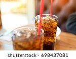 double soft drink carbonated... | Shutterstock . vector #698437081