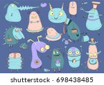funny monsters child's drawing...   Shutterstock .eps vector #698438485