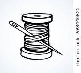 wooden sheave of cotton fiber... | Shutterstock .eps vector #698440825