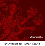 happy navratri icon  godess ...   Shutterstock .eps vector #698443645