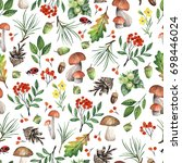 seamless white pattern with... | Shutterstock . vector #698446024