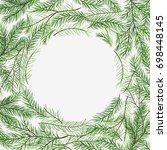 christmas frame   hand drawn... | Shutterstock .eps vector #698448145