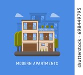 modern apartments for rent and... | Shutterstock . vector #698449795