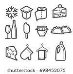 icons set food and drink | Shutterstock .eps vector #698452075