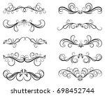 black and elegant set of swirl...   Shutterstock .eps vector #698452744