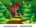 old wooden cottage in the woods ...   Shutterstock .eps vector #698453284