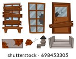 broken windows and door on... | Shutterstock .eps vector #698453305
