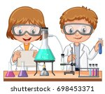 two kids doing science... | Shutterstock .eps vector #698453371