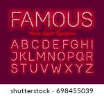 famous  neon light typeface.... | Shutterstock .eps vector #698455039