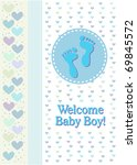 a boy birth announcement with... | Shutterstock . vector #69845572