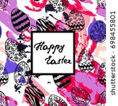 easter greeting card with hand... | Shutterstock .eps vector #698455801