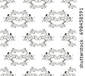 damask vector classic black and ... | Shutterstock .eps vector #698458591