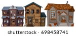 three old houses with broken... | Shutterstock .eps vector #698458741
