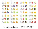 set vector elements of fruits... | Shutterstock .eps vector #698461627