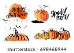 halloween watercolor hand drawn ... | Shutterstock . vector #698468944