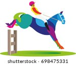a young man is a jockey who... | Shutterstock .eps vector #698475331