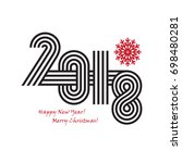 2018 happy new year trendy and... | Shutterstock .eps vector #698480281