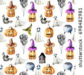 seamless pattern with... | Shutterstock . vector #698482981