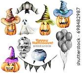 set of watercolor halloween... | Shutterstock . vector #698482987