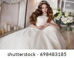 gorgeous beauty young bride... | Shutterstock . vector #698483185