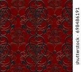antique floral damask seamless... | Shutterstock .eps vector #698486191