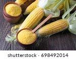 corn grits polenta in a ... | Shutterstock . vector #698492014