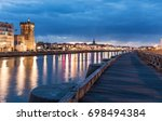 the dock of la chaume by night  ... | Shutterstock . vector #698494384