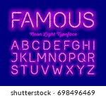 famous  neon light typeface.... | Shutterstock .eps vector #698496469