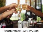 party of friends  drink in bar | Shutterstock . vector #698497885