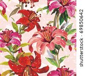 seamless pattern with blooming...   Shutterstock .eps vector #69850642