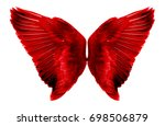 Red wings on a white background