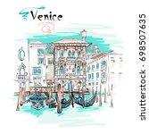 vector picturesque view with... | Shutterstock .eps vector #698507635