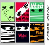 set of posters with eyes girl... | Shutterstock .eps vector #698509234