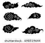 black cloud tattoo chinese... | Shutterstock .eps vector #698519644