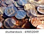 Money Euro Coins Under  Water...