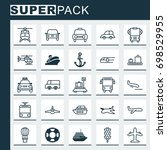 transportation icons set.... | Shutterstock .eps vector #698529955