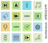 multimedia icons set.... | Shutterstock .eps vector #698532199