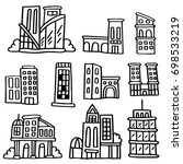 hand drawn doodle set of... | Shutterstock .eps vector #698533219