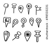 hand drawn doodle set of pins | Shutterstock .eps vector #698533231
