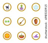 halloween element icon set.... | Shutterstock .eps vector #698533915
