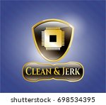 gold shiny badge with... | Shutterstock .eps vector #698534395