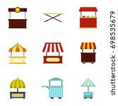 market stall icon set. flat... | Shutterstock .eps vector #698535679