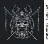 samurai mask japanese | Shutterstock .eps vector #698537125
