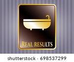 gold shiny badge with bathtub... | Shutterstock .eps vector #698537299