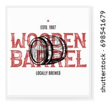 wooden barrel in the middle of... | Shutterstock .eps vector #698541679